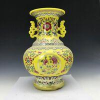 Exquisite rare China painting Fine pattern&flower ceramics vase Qianlong mark.