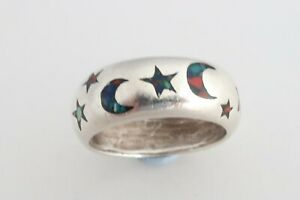 Sterling silver & enamel Stars and moon band ring