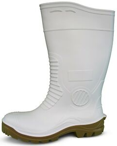 Traxium White Mens Heavy Duty Non-Safety Gumboots - Brand New