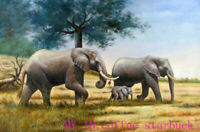 ZWPT1305 100% hand painted three animals elephants oil painting art on Canvas