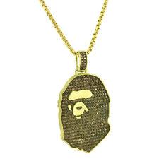Custom Ape Design Pendant 14k Gold Finish Brown Simulated Diamond Box Lock Chain