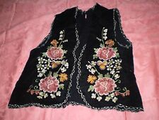 VERY RARE ANTIQUE BALKANS FOLK ART  EMBROIDERED VELVET VEST YELEK