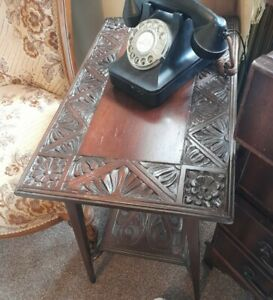 Small Antique Carved Mahogany Wooden Side Table 1940's Coffee Vintage Floral