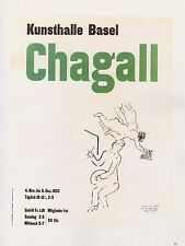 """1989 VINTAGE """"CHAGALL KUNSTHALLE BASEL"""" SCHWABE MINI POSTER COLOR Art Lithograph"""