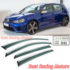 Side Window Visors + Chrome Molding Trims Fits 15-17 VW Golf 7 e-Golf MK7