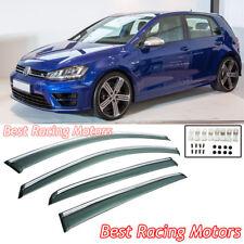 Side Window Visors + Chrome Molding Trims Fits 15-18 VW Golf 7 e-Golf MK7