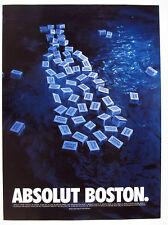 2002 Absolut BOSTON tea party theme vodka cases in water photo vintage print Ad