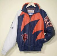 Rare Vintage 90s Chicago Bears Leather Sharktooth Jacket LA Athletic Men s  M NFL 5c931cd78