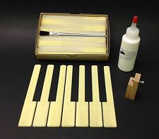 "Piano Keytops Set/52 Simulated Yellow Ivory Long Head 2"" w/2oz PVC-E Glue & Tool"