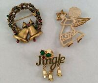 Christmas Brooch Lapel Pin Lot of 3 Angel Wreath Bells Holiday Fashion Jewelry