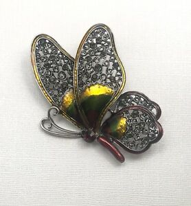 Vintage Style Large  Butterfly Brooch  enamel on  Metal