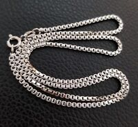 925  Sterling Silver 1.9mm Box Chain Necklace 925 Italy All Sizes
