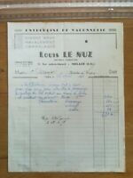 Facture Louis le Nuz - Maçonnerie - Trélazé - 1958
