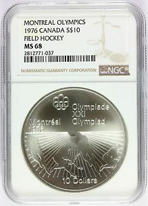 1976 Canada Montreal Olympics Field Hockey Silver $10 Coin - NGC MS 68 - KM# 112