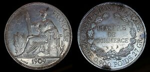 1909 French Indochina Piastre Silver Trade Dollar Coin Liberty seated w/ fasces