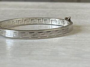 Roberto Magi Bangle Bracelet Sterling Silver Greek Key Design Italy