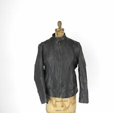 Oklahoma Police Black Leather Mens Cafe Racer Motorcycle Riding Distressed sz 42