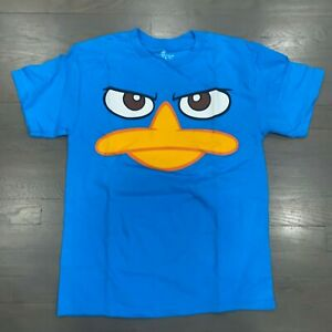 Disney Phineas and Ferb Blue T-Shirt Perry the Platypus Face Boys Size Large New