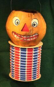 Rare Antique German Halloween Mache 2 Faced Pumpkin Lantern, Accordion bottom