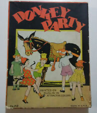 Donkey Party Printed On Muslin In Attractive Colors Vintage Complete USA 1930s