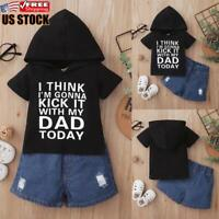 2PCS Newborn Baby Boys Clothes Hooded Tops Trousers Pants Tracksuit Outfits Set