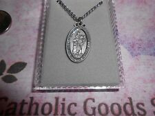 """Saint St. Christopher - with 24"""" Chain -  Pewter 1 1/16 inch Oval Medal"""