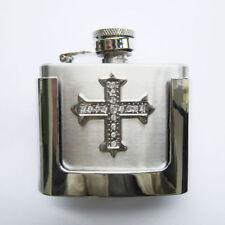 2 oz. Flask Cross Western Metal Removable Belt Buckle Alcohol Drink