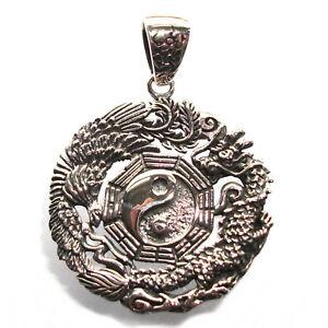 Dragon & Phoenix Yin Yang Love Pendant Solid Sterling Silver .925 P018