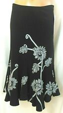 Sunny Leigh Skirt Flared 4P Black with Silver Ribbon Trim NWT $89