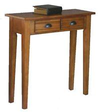 New Small Vintage Sofa Hall Table Drawers Medium Brown