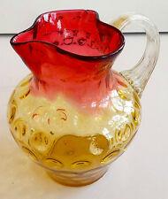 VINTAGE HAND BLOWN MULTI-COLOR GLASS PITCHER/VASE WITH BUBBLES