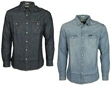 Wrangler Mens Denim Shirt in Rins/Light Indigo Blue Designer Top All Sizes S-XXL
