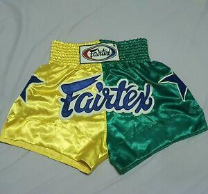 SHORTS FAIRTEX MUAY THAI FIGHT KICK BOXING MMA MULTI YELLOW GREEN SIZE S SATIN