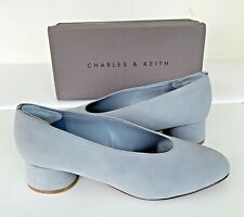 3de98ac174 CHARLES & KEITH Grey Block Heel Slip On Shoes 7 / 40 Faux Suede *Boxed