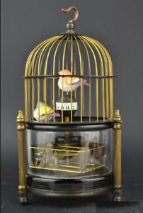 Rare Retro brass bird cage Mechanical Table Clock