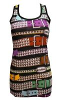 LADIES FUNKY MULTI PYRAMID STUD BELTS PRINT LONG VEST TANK TOP DRESS GOTH  EMO