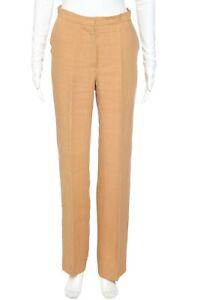 MAX MARA Khaki Linen Bice Pants 2 Mid Rise Straight Brown Slacks Tan Slim XS S