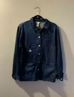 Indigo Rein Women's Size Large Denim Overcoat Work Shirt Thin Button Front Blue
