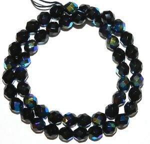 """CZ415 Jet Black AB 8mm Fire-Polished Faceted Round Czech Glass Beads 16"""""""