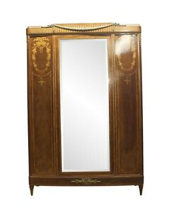 Antique French Deco Walnut Mirrored Armoire