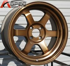 "4PC BRONZE 16X8 +20 ROTA GRID-V 4X100 RIM FIT CIVIC SI MINI COOPER S JCW 2"" LIP"