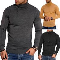 Herren Rollkragen Pullover Feinstrick Rolli Longsleeve Sweater T-Shirt Beige