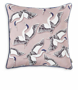 """Ted Baker Crane Printed Decorative Pillow 20"""" x 20"""" Pink/Gray NEW"""