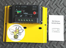 10 amp charge controller mounted on powder coated plate, with auto on/off