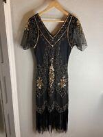 BABEYOND 1920s Art Deco Fringed Sequin Dress 20s Flapper Gatsby Costume Dress M
