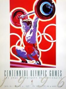 WEIGHTLIFTING 1996 Olympic Poster ORIGINAL Artist: Hiro Yamagata  (2 Poster Lot)