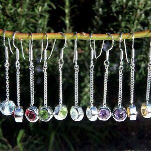 Gemstone Earrings Drop Silver 925 Peridot, Garnet, Topaz, Citrine, Jewellery