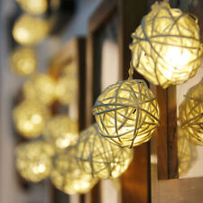 "20-LED 83"" Battery Operated Rattan Ball String Lamp Lights Wedding Decor"