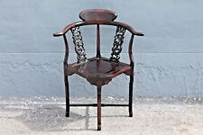 Asian Early 20thc Highly Carved- Majorly Decorative Corner Chair