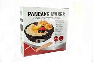 "1000W 12"" ELECTRIC PANCAKE & CREPE MAKER NON-STICK PLATE + FREE UTENSILS"